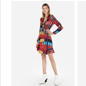 Express Color Block Elastic Wrap Dress